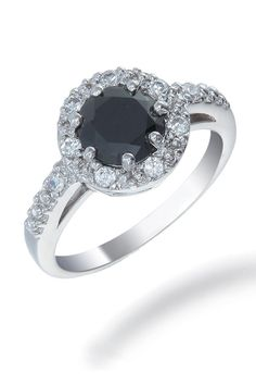 Black Diamond Ring In Sterling Silver.