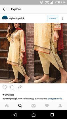 Pakistani shalwar kameez for Eid by Kayseria. Pakistani Fashion Casual, Pakistani Dresses Casual, Indian Dresses, Indian Outfits, Salwar Designs, Kurti Designs Party Wear, Blouse Designs, Dress Designs, Stylish Dresses