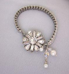 Repurposed Rhinestone Bracelet  Vintage Expansion by jryendesigns, $44.00