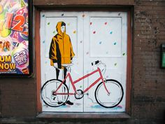 New piece in partnership with Tokyobike - painted next to Old Street in London.  I took inspiration from a picture from the brand's blog and included one of their stylish bikes in the composition. The girl is standing in this colourful rain. Just waiting. 'Plic'. 'Ploc'.