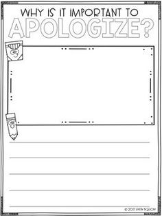 A classroom lesson on giving an apology -- why they are important, the parts of a good apology, and how it feels after someone apologizes to YOU Elementary School Counseling, School Counselor, Elementary Schools, Counseling Office, Social Emotional Learning, Social Skills, Social Work Activities, Class Activities, Classroom Behavior
