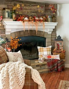 Rustic fall decor in farmhouse style home with corner stone fireplace Fall Fireplace Decor, Fall Room Decor, Family Room Fireplace, Rustic Fall Decor, Fall Mantel Decorations, Fireplace Mantles, Mantle Ideas, Stone Fireplaces, Fall Living Room