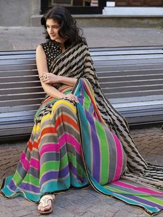 Multicolor Printed Designer Saree in Georgette