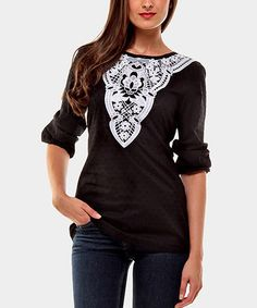 Take a look at this Black & White Annie Three-Quarter Sleeve Top by Almatrichi on @zulily today!
