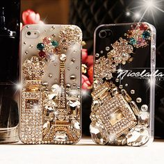 iphone 5 case - Bling iPhone 5 case - Unique iPhone 5 clear case - Crystal iphone 5 case flowers - Best iphone 5 case eiffel tower perfume. $21.98, via Etsy.