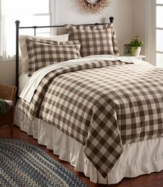 Ultrasoft Comfort Flannel Bedding: Coffe/Driftwood (brown & off-white buffalo plaid/check/gingham) L.L.Bean