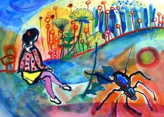 Improv painting Girl Spider and Dandelions