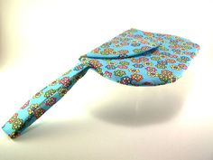 Bright Blue Clutch Purse with Colorful Flowers by TrampLeeDesigns, $20.00
