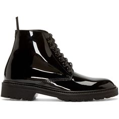 Saint Laurent Black Patent Leather Army Boots (€615) ❤ liked on Polyvore featuring shoes, boots, ankle booties, ankle boots, lace up ankle boots, military boots, combat boots, black lace up bootie ve black lace up booties