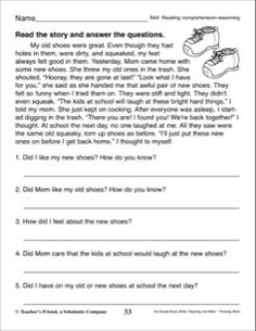 Short story with comprehension questions | English-Reading ...