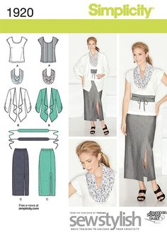 Simplicity 1920 Women Skirt Top Jacket Scarf Belt Sewing Pattern Miss 10-18 UNCT #Simplicity