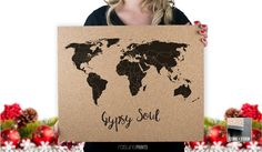 Cork Push Pin Travel Map  16x20  Gypsy Soul  by RasurePrintsLLC