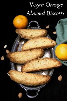 Biscotti are twice-baked Italian cookies. These crunchy, delicious Vegan Orange Almond Biscotti are perfect for dunking into a cup of coffee or tea. Vegan Treats, Vegan Foods, Vegan Snacks, Vegan Desserts, Vegan Recipes, Dessert Recipes, Diner Recipes, Plated Desserts, Delicious Recipes