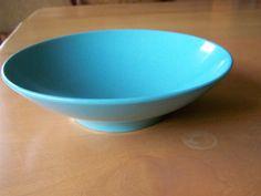 Vintage 1970s Melamine serving bowl - Holiday by Kenro - Retro turquoise by RetrowareExchange on Etsy