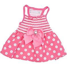 Petco Pup Crew Pink Dot & Stripe Smocked Dog Dress. Posted by Redlandspoodles.com