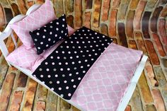 This colorful Quatrefoil pattern has so many options! Lively and Bright Pink and Multi Colored coordinating patterns make this a wonderful set for any doll bedding collection. Mattress is gently hand