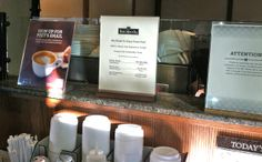 Peet's Coffee Counter displays - interesting manager contact info