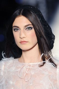 Chanel Haute Couture Fall 2012 - black lined lids with gray eye shadow