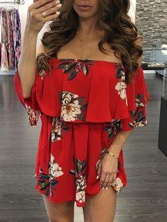 Floral Printed Off Shoulder Ruffles Belted Mini Dress