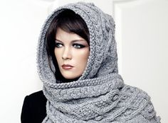 noppen Marit - Hooded scarf with cables and nubs Knitting pattern by Rita Maassen Knitted Shawls, Knitted Blankets, Clothing Patterns, Knitting Patterns, Knitting Projects, Knitting Ideas, Sewing Projects, Hooded Scarf, Scarf Knit