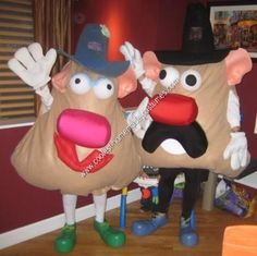 Homemade Mr. and Mrs. Potato Head Couple Costume: I wanted to make Mr. and Mrs. Potato Head costumes for my husband and me. Many of the costumes that I saw online were two dimensional costumes, where a