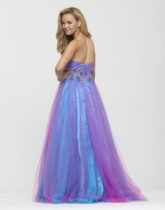 Clarisse 2013 Cotton Candy Blue Pink Strapless Sweetheart Tulle Beaded Long Ball Gown 2160 | Promgirl.net