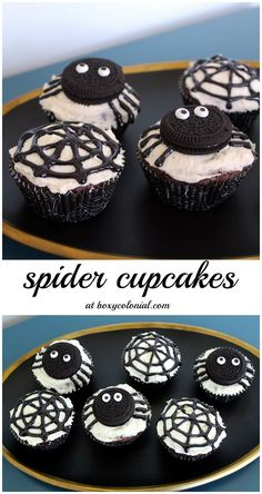 Abe's Very Busy Spider Party - Spider Cupcakes: great for Halloween or a Very Busy Spider party Halloween Party Snacks, Comida De Halloween Ideas, Pasteles Halloween, Bolo Halloween, Dessert Halloween, Halloween Goodies, Halloween Cupcakes Easy, Halloween Birthday, Easy Halloween