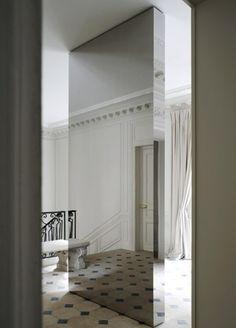 | P | Mirrored room divider partition. Balmain Paris Joseph Dirand www.josephdirand.com