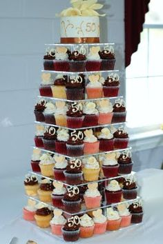 50th Wedding Anniversary Cupcake Tower along with CAKE