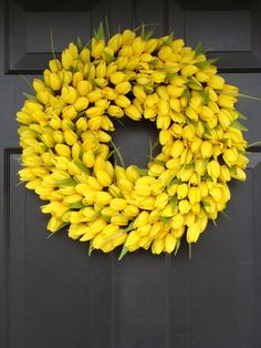 Yellow Spring Wreath, Spring Decor, Mother's Day Wreath,  Wall Decor, Custom Colors, Spring Decoration  SALE on Etsy, $85.00