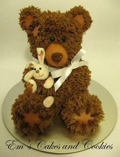 Now we have all seen the teddy bear pan cakes from Wilton for years, but this has got to be hands down, the most totally adorable teddy bear cake I have EVER seen... just love the bunny rag doll ;) SOOOO cute!