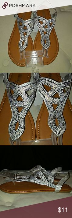 NWTS Sparkly Stretcy Silver Rhinestone Sandals #nwts #Sparkly #stretchy #rhinestones #silver #gold #gray #beigebase #sandals #spring #summer #sizeNine #9 #rougecollection #silver #gems #cute This item is on HOLD for brandypolek! rouge collection Shoes Sandals