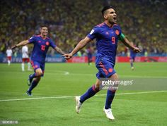 Radamel Falcao of Columbia celebrates scoring his teams second goal during the 2018 FIFA World Cup Russia group H match between Poland and Colombia. Carlos Valderrama, Fifa World Cup, A Team, Goals, Running, Group, Live, News, Celebrities