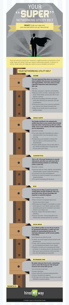 Students who are graduating: consider donning a Super Networking Tool Belt, as described in this infographic. Business Resume, Business Networking, Career Success, Career Advice, Career Development, Professional Development, Social Work, Social Media, Job Hunting Tips