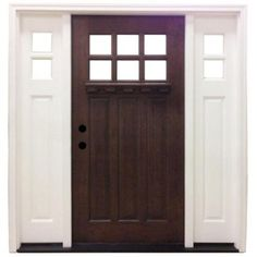 Steves & Sons Craftsman 6 Lite Stained Mahogany Wood Entry Door Sidelites-M3306-2612-HW-4RH at The Home Depot