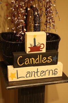 CANDLES LANTERNS Hand Painted Shelf Sitter by UniquePrimtiques, $12.00