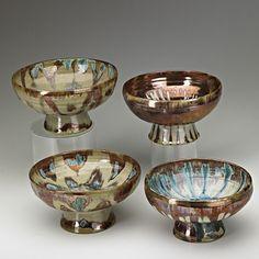 """BEATRICE WOOD (1893-1998); Four glazed earthenware bowls, Ojai, CA; Signed BEATO; 3 1/2"""" x 6 1/4"""" ea., Estimate- $2,000-$3,000"""