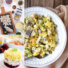 Szybkie i łatwe sałatki śledziowe Pasta Salad, Ethnic Recipes, Food, Crab Pasta Salad, Essen, Meals, Yemek, Eten