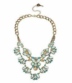 Betsey Johnson Crystal Gem Frontal Necklace #Dillards