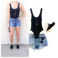 SEE IT ON | Edgy ✔️ Sporty ✔️ Sexy ✔️✔️ #dressmingle #bodysuit #doublefrayedcutoffs #flatforms