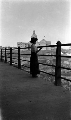 Woman on High Level Bridge, Edmonton, 1916 Canadian History, Local History, Canadian Pacific Railway, City Landscape, Old West, High Level, Alberta Canada, Vintage Photographs, Back In The Day
