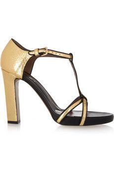 Black Leather trimmed Golden watersnake sandals MARNI