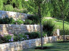 Stone garden retainer walls