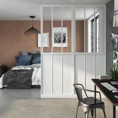 Cloison de séparation Indus blanche et verres armés Decor, Furniture, Room, Home Decor, Room Divider, Divider
