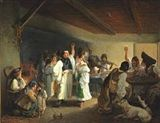 Artwork by Hungarian School 19th century, Wedding scene with cheerful people celebrating, Made of Oil on panel