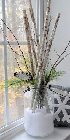 Day in a Jar Birch Branch Arrangement Snow Day in a Jar . Day in a Jar Birch Branch Arrangement Snow Day in a Jar . Decoration Branches, Birch Tree Decor, Birch Branches, Xmas Decorations, Decorating With Branches, Homemade Decorations, Decorating Ideas, Diy Decoration, Winter Home Decor
