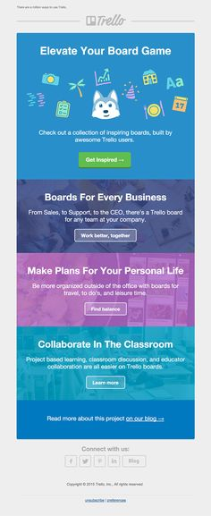 The Trello Inspiring Boards email is bright and colorful, minimal and sectioned well inspiring the reader to click-through to see the inspiring boards.
