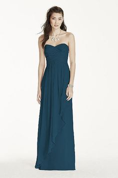 Strapless Extra Length Crinkle Chiffon Dress 4XLW10840