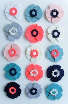 felt flower pattern for hair clips, magnets, embellishments on headbands, clothing, hats, more!