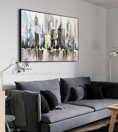 City Abstract Painting Artworks Original Cityscape Painting by Julia Kotenko